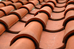 Used roofing on the temple building Royalty Free Stock Image