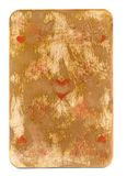 Used rubbed grunge playing card with heart paper background Royalty Free Stock Photos
