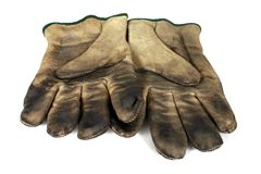Used Safety Gloves. Safety Gloves, Used Multi-Purpose Leather gloves Stock Photos