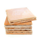 Used saltillo tiles, recycled building materials. Used, saltillo tiles, recycled building materials, on white Royalty Free Stock Photo