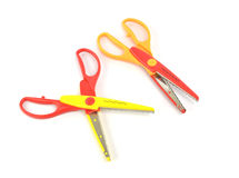 Used serrated color scissors Stock Images