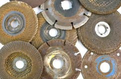 Used several abrasive discs for metal cutting Stock Images