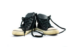 Used shoes. Two used shoes isolate on white background stock photography