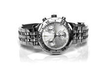 Used silver watch stock image