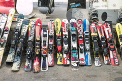 Used ski. Market of used ski for editorial use only Stock Photos