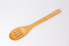Used slotted wooden spoon Royalty Free Stock Photos