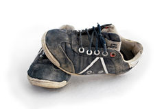 Used sneakers isolated on white Stock Photo