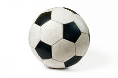 Used soccer ball. On white background with shadow stock photos