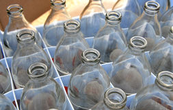 Used soda water glass bottle Royalty Free Stock Photos