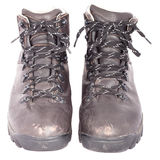 Used solid leather hiking shoes Royalty Free Stock Photos