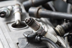 Used spark plugs Stock Images