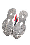 Used sports shoe soles stock photography