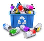 Used spray cans in blue recycle crate vector illustration