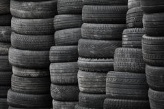 Used stacked tires background Stock Image