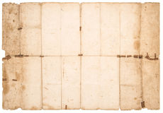 Used stained paper texture. Old grungy falded paper sheet Stock Image