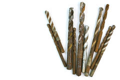 Used Steel drill bits - Different shapes on white background Royalty Free Stock Image