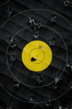 Used Target. Bulls Eye with yellow Center with lot of Hits Royalty Free Stock Images