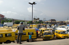 Used Taxi vehicles for sale at the market in Oshodi Stock Images