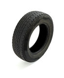 Used tire. Close up of a used car tire on white background royalty free stock photos
