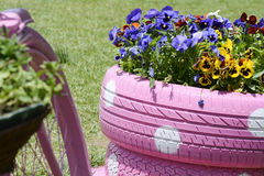 Used tire flower basket. Flower on used tir image. Recycle tire. Save planet stock image