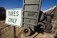 Used tire recycle bin. Royalty Free Stock Photo