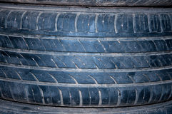 Used tire texture white dust. Used tire texture more dust Stock Photo