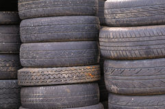 Used tires. Old used car tires for retreading royalty free stock photography