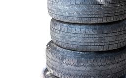 Old car tires are stacked. Used tires ready to be resold Royalty Free Stock Photography