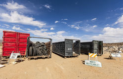 Used tires recycling dumpster. Stock Photos