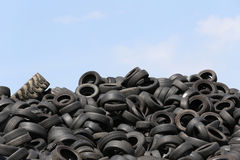 Used tires. At recycling yard stock photo