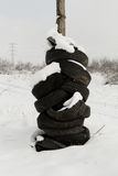 Used tires stacked Royalty Free Stock Image