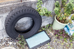 Used tires traps rain water risk breeding ground for mosquito Stock Images