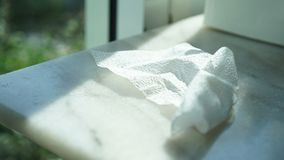 Used tissue on the table royalty free stock photos