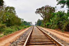 Railway tracks of the bamboo train in Battambang Cambodia royalty free stock photo