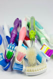Used tooth brush. Old toothbrushes  on white background Royalty Free Stock Photos
