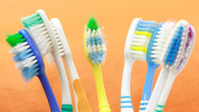 Used Toothbrush. Many Used Toothbrush after clean stock images