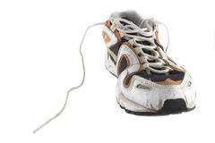 Used trainers. Used sport trainerr isolated on white background stock image