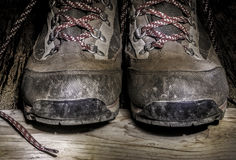Used trekking shoes Stock Image