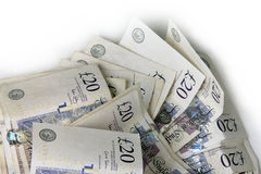 Used twenty pound notes Royalty Free Stock Images