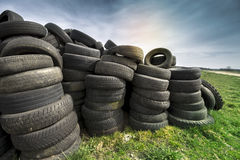 Used Tyres on Meadow. Tires Heap - Used Tyres on Meadow stock images