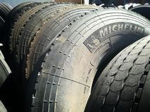 Used tyres of truck waste Royalty Free Stock Photos