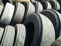 Used tyres of truck for waste Royalty Free Stock Photos
