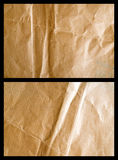 Used up parcel paper 3. Light and shadow on a used up brown wrapping paper sheet with wrinkles royalty free stock photo