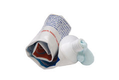 Used up toothpaste. Image of a tube of used toothpaste on white Royalty Free Stock Images