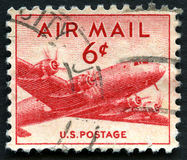 Used US Air MAil Stamp Royalty Free Stock Photo