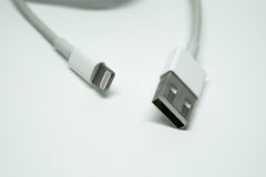 Used USB male charger and data lead cable Stock Image