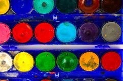 Simple watercolour paints palette. Used vintage Simple set of watercolour paints palette Stock Photography