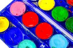 Simple watercolour paints palette. Used vintage Simple set of watercolour paints palette Stock Image