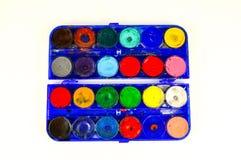 Simple watercolour paints palette. Used vintage Simple set of watercolour paints palette Stock Photo