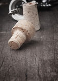 Used Vintage Wine Corks Close-up. Stock Photo